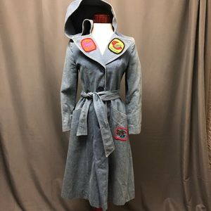 Vintage 70s hooded denim jean jacket  trench coat